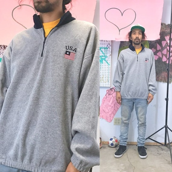 Vintage fleece sweatshirt usa 1990s 1980s size large grey