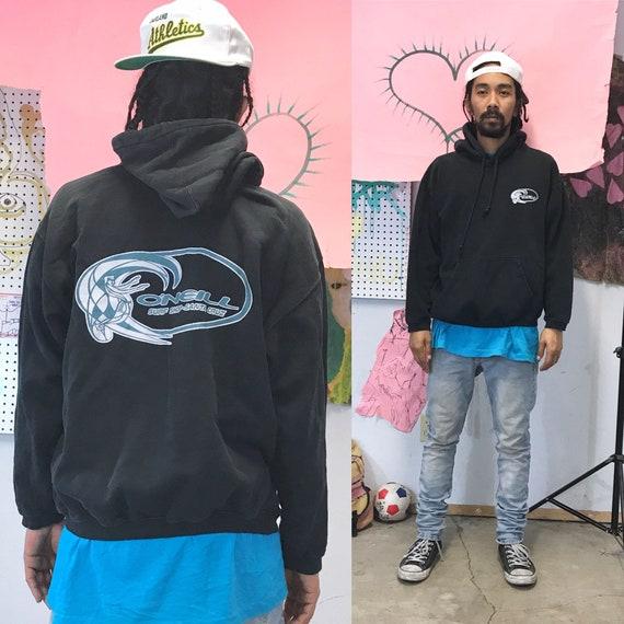 Vintage Surf Brand O'Neill Black Hoodie Sweatshirt Size Small 1990s 1980s