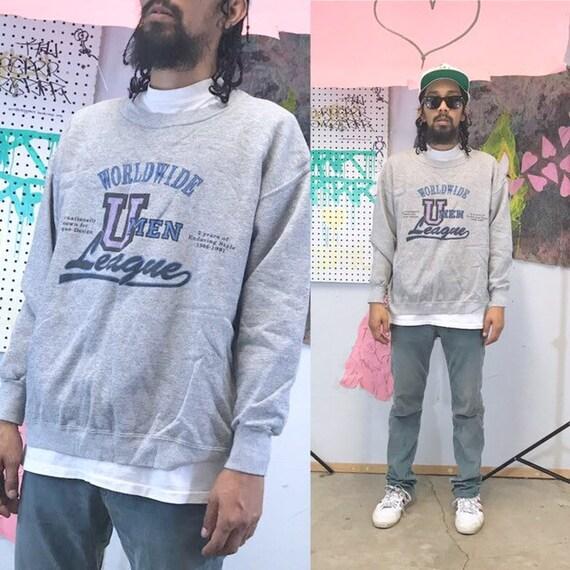 Vintage sweatshirt studio umen grey sweatshirt 1990s 1980s 90s 80s college sweater