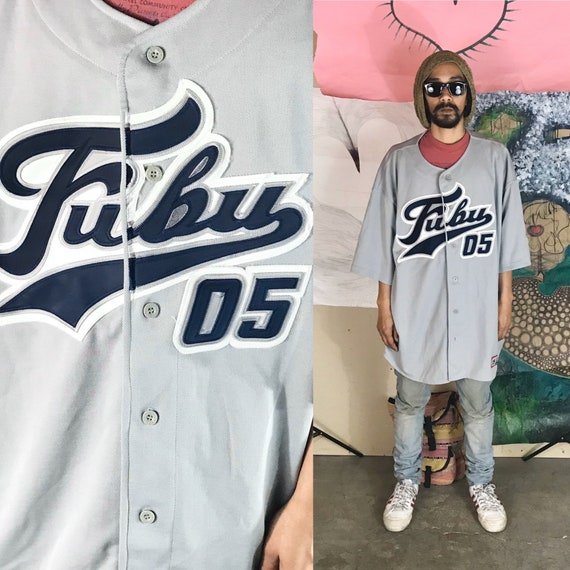 Vintage Gray FUBU Baseball Jersey XXL 1990s 1980s