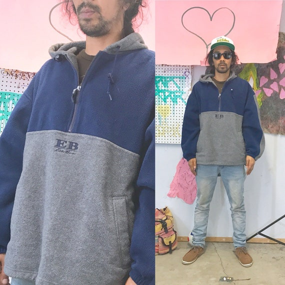 Vintage Eddie Bauer hoodie fleece sweatshirt size large late 1990s oversized hip hop tommy hilfiger