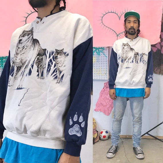 Vintage Artisanal Wolf Print Pullover Henley Sweatshirt Large 1990s 1980s