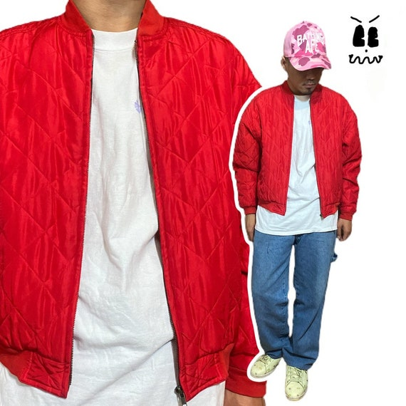 Vintage quilted silk bomber jacket 1990s red 90s … - image 1