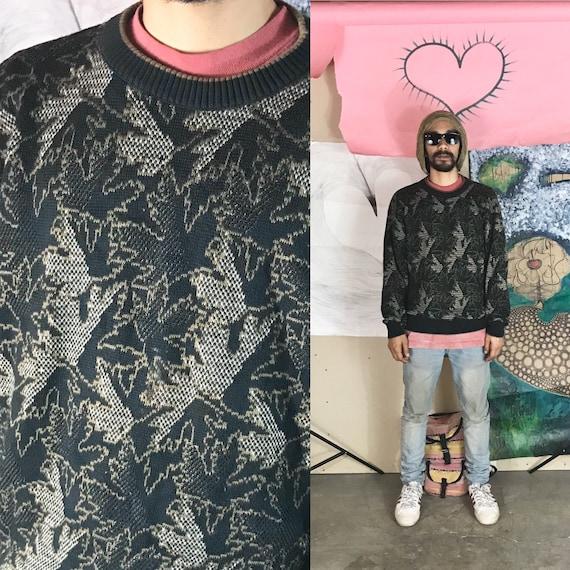 Vintage Knit Leaf Sweater By Tricots St. Raphael Olive Cotton Medium 1990s 1980s