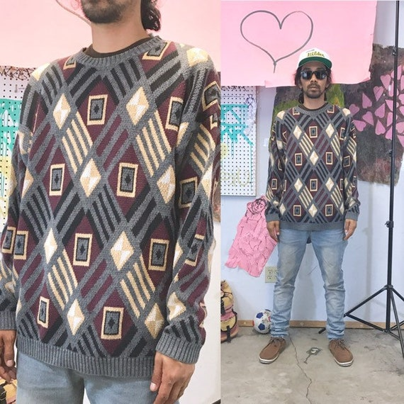 Vintage knit sweater colors coogi cosby 1990s 1980s size large
