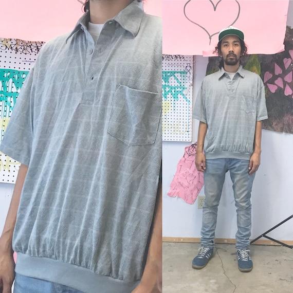 Vintage polo shirt 1980s grey polo shirt gray 1990s size large