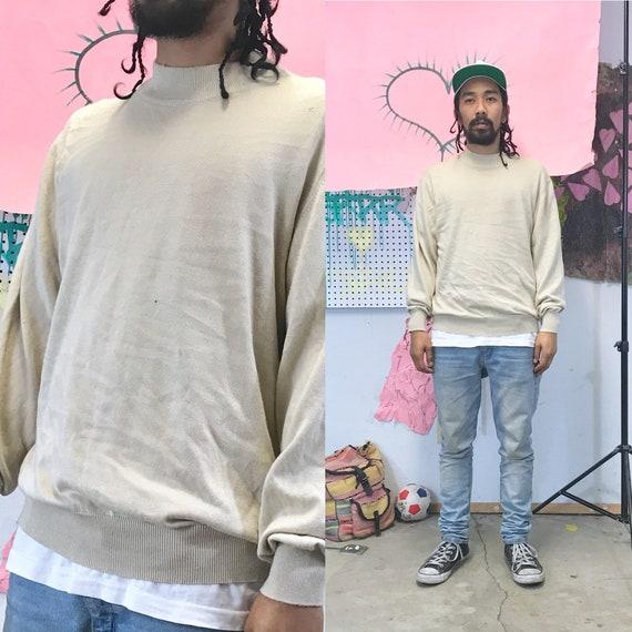 Vintage Linea Uomo Ribbed Crewneck Sweater Tan Medium 1980s 1990s