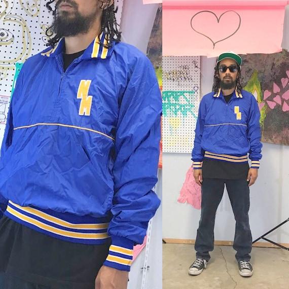 Vintage windbreaker jacket pullover cheerleader jacker newark memorial high school blue size small