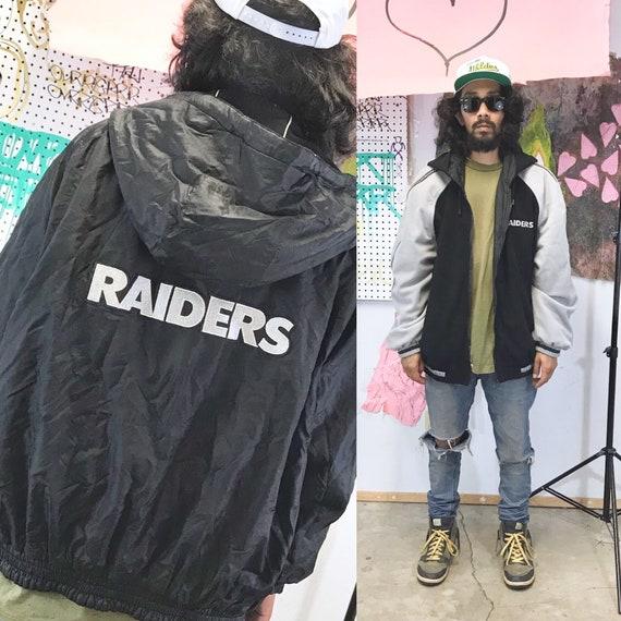 Vintage Oakland Raiders reversible puffer jacket fleece black silver size large