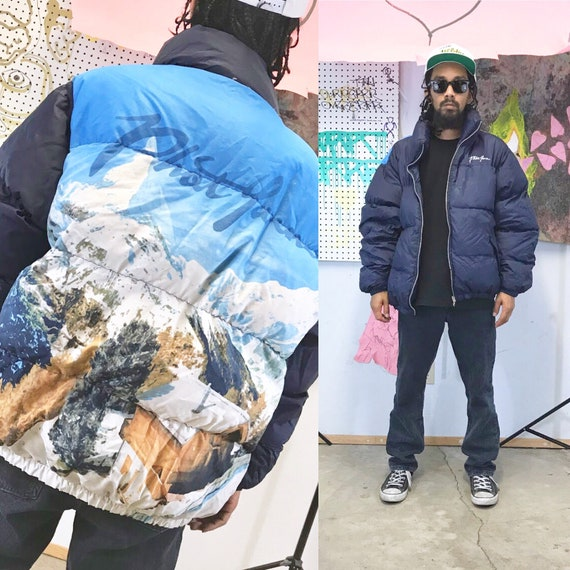 Vintage puffer jacket phat farm all over print loud print jacket 1990s early 00s y2K size large