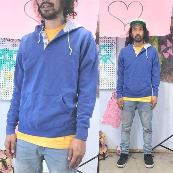 Vintage hoodie blue sweatshirt 1990s 1980s size medium large