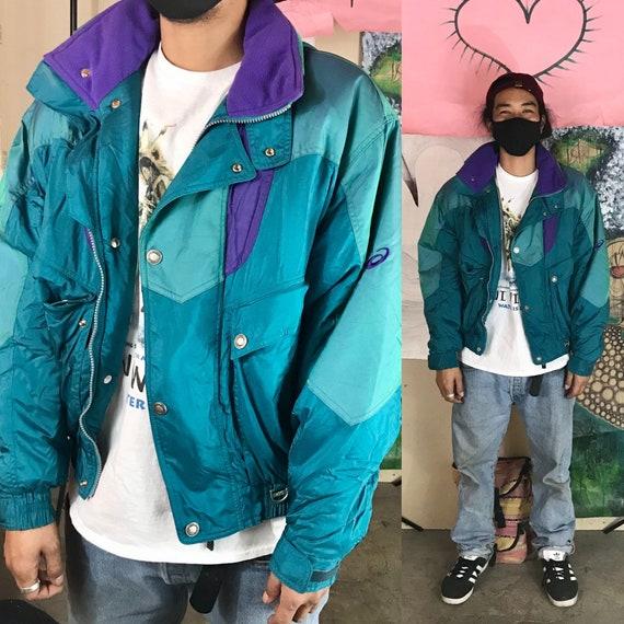 Vintage Asics Winter Jacket Nylon Teal Small 1990s 1980s