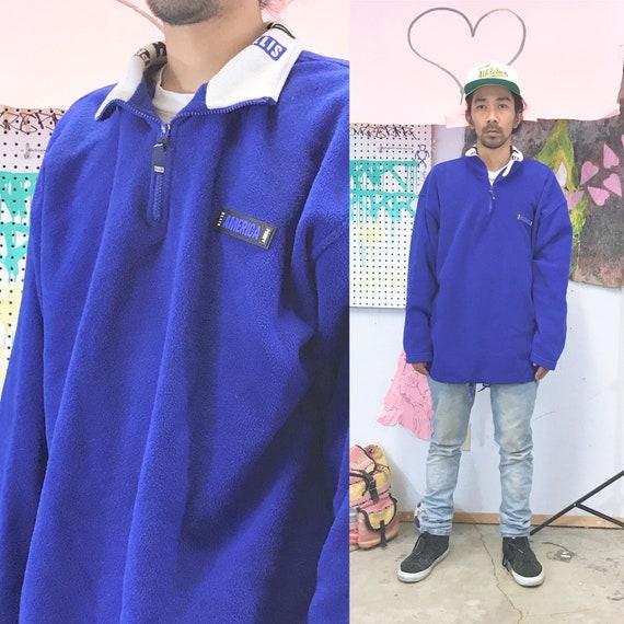 Vintage perry ellis america fleece blue size xl quarter zip 1990s 1980s