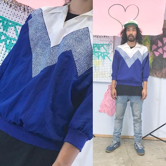 Vintage 1980's polo shirt blue crazy print new wave size medium stranger things