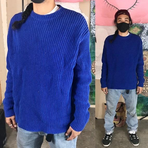 Vintage Blue Sweater by J.Crew Large Cotton 1990s 1980s