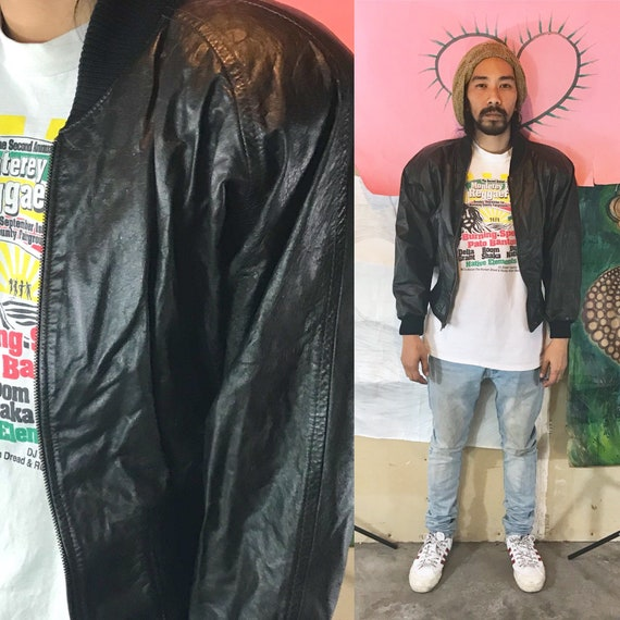 Vintage Leather Jacket by Comint Black Small 1990s 1980s