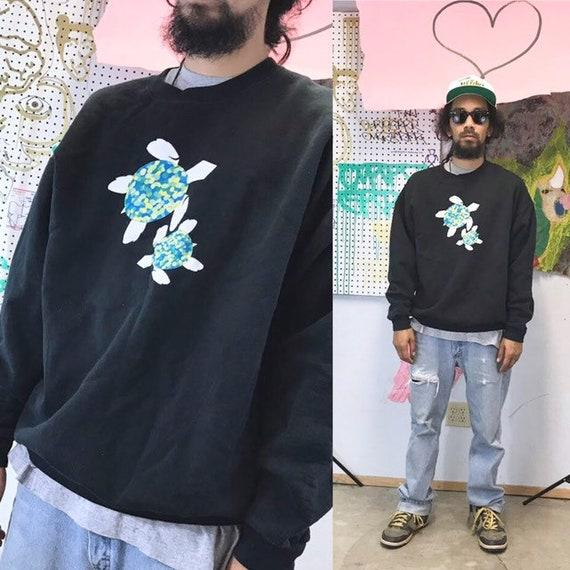 Vintage turtle sweatshirt sweater jumper black animal large 1990s oversized baggy