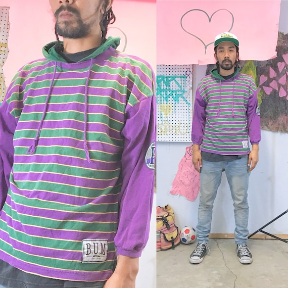 Vintage striped hooodie tshirt bum equipment early 1990s 1980s size small