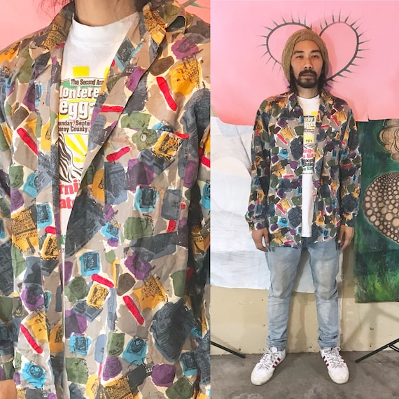 Vintage City Streets Multi-Color Silk Long Sleeve Small 1990s 1980s
