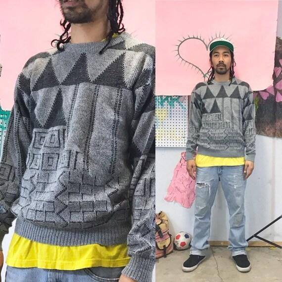 Vintage knit sweater size medium 1990s 1980s grey navy blue geometric