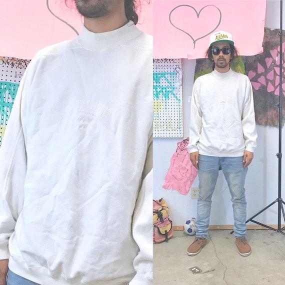 Vintage white mock turtleneck sweatshirt 1990s 1980s alpine country size large the gap