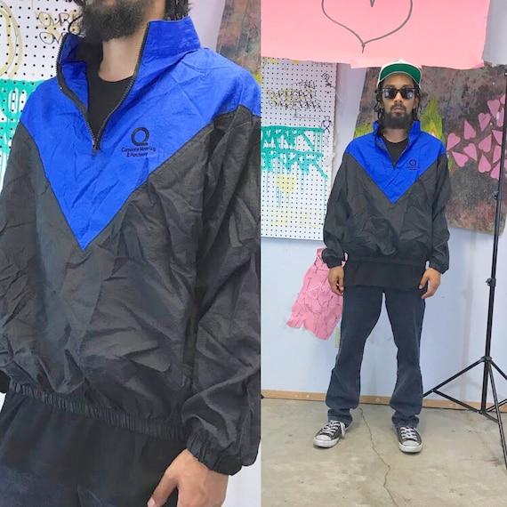 Vintage windbreaker jacket pullover black blue 1990s 1980s 90s 80s