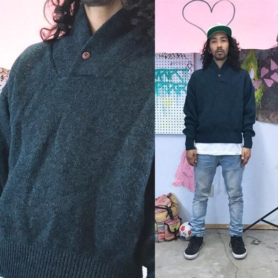 Vintage knit sweater eddie bauer green wool 1990s 1980s size large