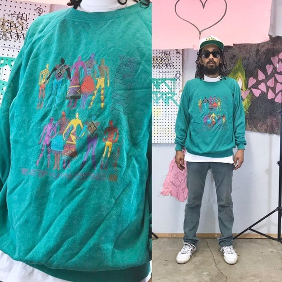 Vintage sweatshirt art design art show earth hippie 1990s 1980s humanism