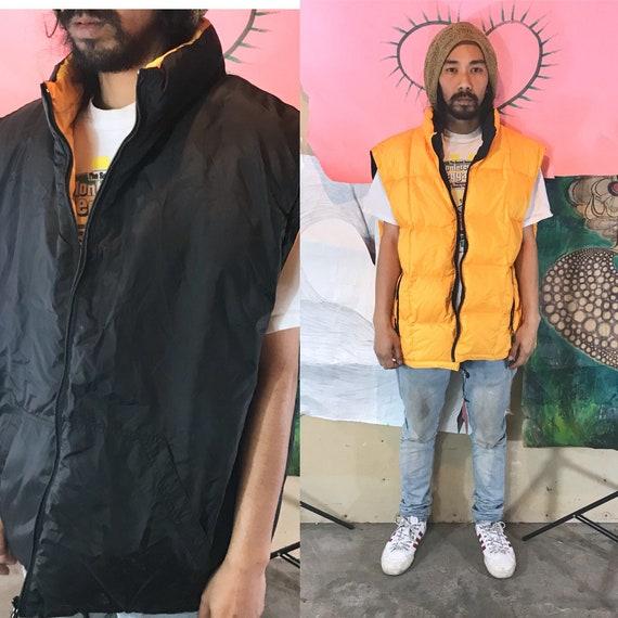 Vintage GAP Puff Vest Reversible Deadstock Black/Yellow XXL 1990s