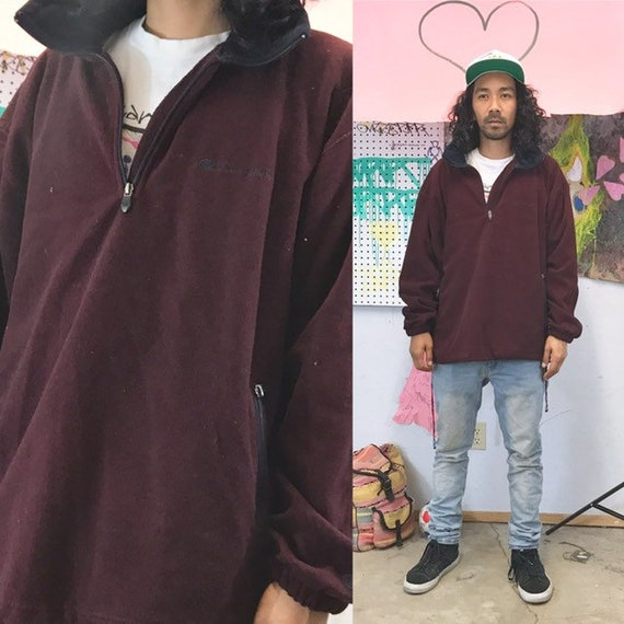Vintage champion sweatshirt size xl fleece maroon burgundy 1990s 1980s quarter zip