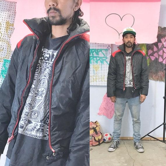 Vintage ellesse puffer jacket puffy jacket 1980s 1990s black red size small ski jacket