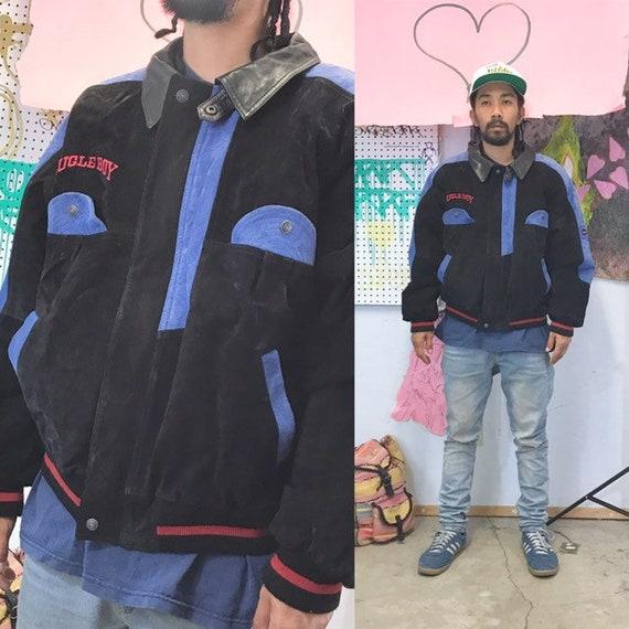 Vintage Bugle Boy leather jacket blue black streetwear 1980s 1990s size medium