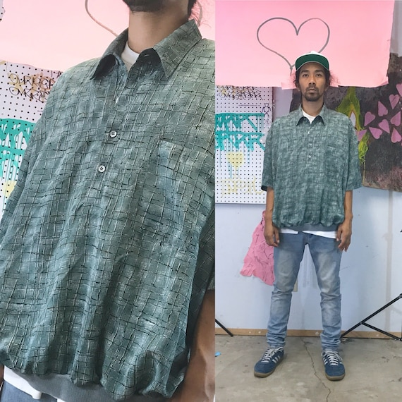 Vintage all over print shirt rayon shirt 1990s 1980s green new wave depeche mode