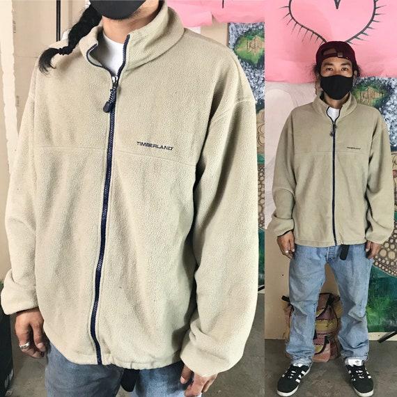 Vintage Timberland Tan Polyester Fleece Full Zip Large 1990s