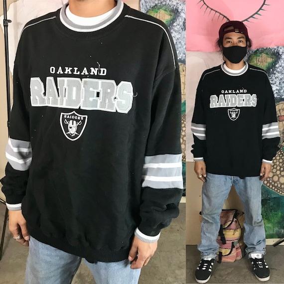 Vintage Oakland Raiders Black Sweatshirt by Lee Sports Polyester/Cotton XL 1990s 1980s