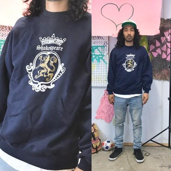 Vintage sweatshirt shakespeare blue size xl oversized 1990s 1980s