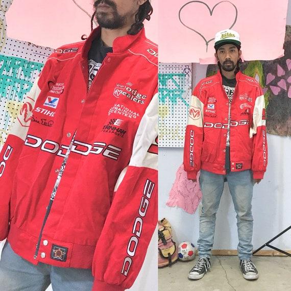Vintage nascar racing jacket dodge motors red jacket size xxl 1990s y2k late 90's