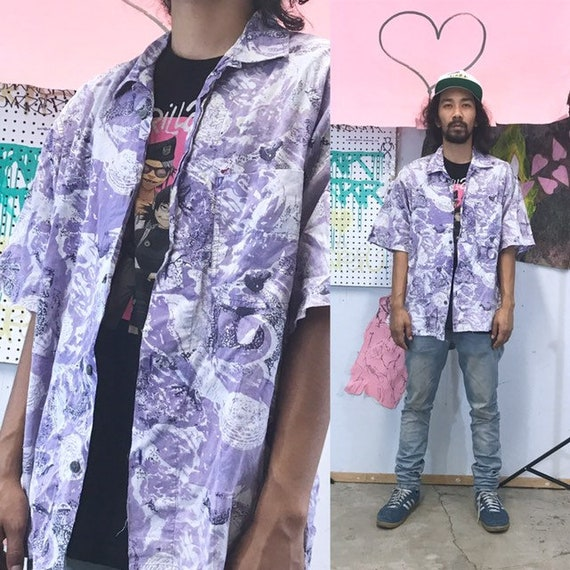 Vintage all over print shirt gotcha surfing skating 1990s 1980s purple size xl