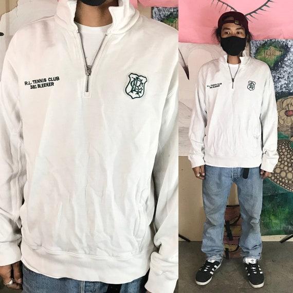 Vintage Polo Tennis Sweatshirt White XL 1/4 Zip  Cotton 1990s 1980s