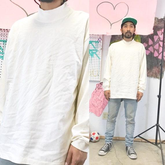 Vintage mock turtleneck sweatshirt size large eddie Bauer cream off white 1990s 1980s