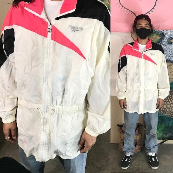 Vintage Reebok Windbreaker White/Pink/Black Nylon Large 1990s 1980s