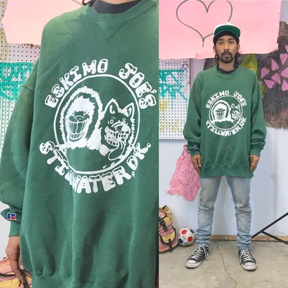 Vintage oversized sweatshirt eskimo joes green size xxl 1990s 1980s