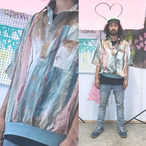 Vintage loud shirt all over print 1990s 1980s rayon shirt size xl