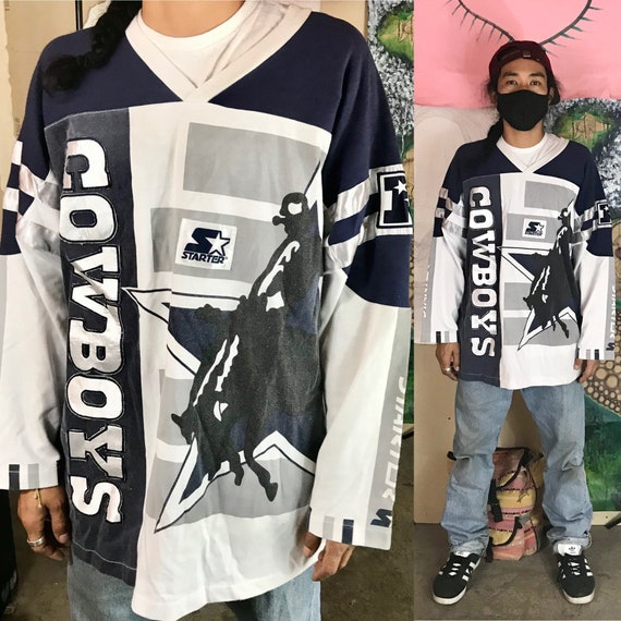 Vintage Dallas Cowboys Shirt By Starter Cotton Polyester Blue XL 1990s 1980s