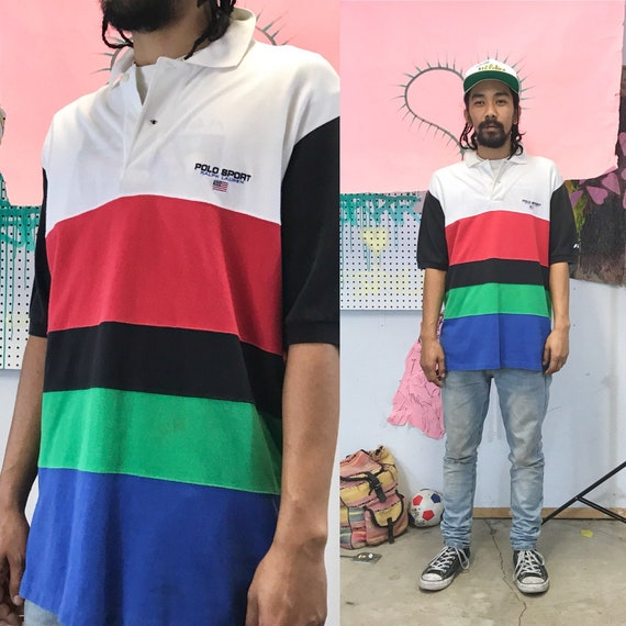 Vintage Polo Multi Colored Polo Ralph Lauren Striped Large 1990s 1980s