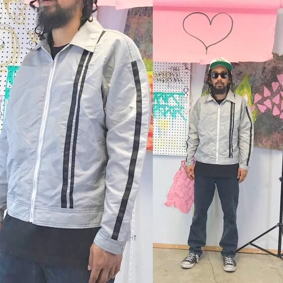 Vintage coach jacket skater jacket 1990s size medium silver grey 1980s