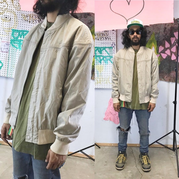 Vintage 1980's tan khaki bomber jacket windbreaker size large
