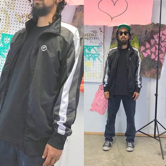 vintage track jacket windbreaker grey black jacket size large