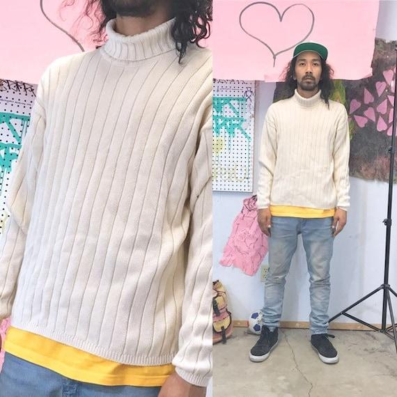 Vintage knit turtleneck ribbed 1990s 1980s size large cotton