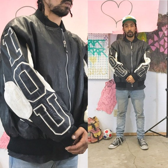 Vintage motorcycle jacket IOU 1980's black white colorblock size xl pelle pelle